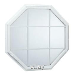 31.5 in. X 31.5 in. Fixed octagon geometric vinyl window with grid white glass