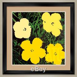 32Wx32H FLOWERS 1964 (YELLOW TONES) by ANDY WARHOL DOUBLE MATTE, GLASS & FRAME