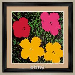 32Wx32H FLOWERS (RED PINK YELLOW) by ANDY WARHOL DOUBLE MATTE, GLASS & FRAME