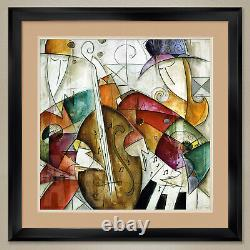 32Wx32H JAM SESSION II by ERIC WAUGH JAZZ MUSIC DOUBLE MATTE, GLASS & FRAME