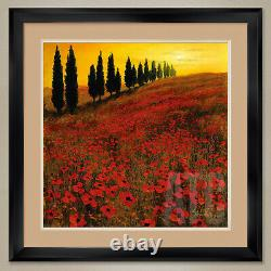 32Wx32H POPPIES by STEVE THOMS POPPY FIELDS DOUBLE MATTE, GLASS & FRAME