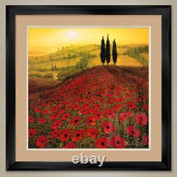 32Wx32H POPPY FIELD by STEVE THOMS RED POPPIES DOUBLE MATTE, GLASS & FRAME