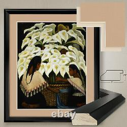 32Wx38H CALLA LILY VENDOR by DIEGO RIVERA DOUBLE MATTE, GLASS and FRAME