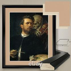 32Wx38H SELF-PORTRAIT WITH DEATH by A BOCKLIN DOUBLE MATTE, GLASS and FRAME
