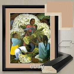 32Wx38H THE FLOWER VENDOR by DIEGO RIVERA DOUBLE MATTE, GLASS & FRAME