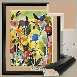 32Wx40H GARDEN WITH BLUE TULIP by KIM PARKER DOUBLE MATTE, GLASS and FRAME