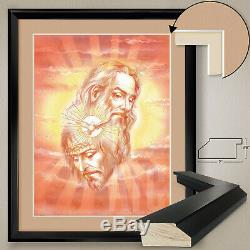 32Wx40H HOLY TRINITY JESUS CHRIST SPIRIT GOD DOUBLE MATTE, GLASS and FRAME