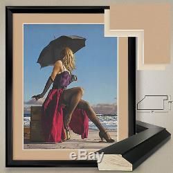 32Wx40H ON CRESCENT BEACH by PAUL KELLEY DOUBLE MATTE, GLASS and FRAME