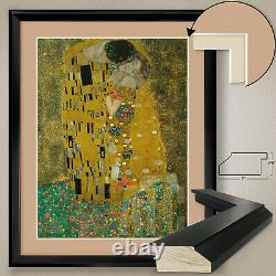32Wx40H THE KISS by GUSTAV KLIMT IL BACCIO DOUBLE MATTE, GLASS and FRAME