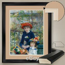 32Wx40H TWO SISTERS by PIERRE AUGUST RENOIR DOUBLE MATTE, GLASS and FRAME
