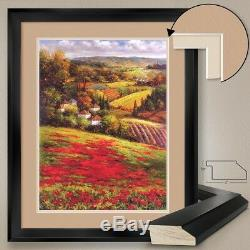 32Wx40H VALLEY VIEW III by PETER HULSEY POPPIES DOUBLE MATTE, GLASS and FRAME