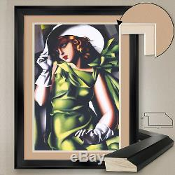32Wx44H YOUNG GIRL IN GREEN by TAMARA DE LEMPICKA DOUBLE MATTE GLASS and FRAME