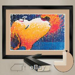 34Wx25H STICKY, ROMANTIC KISS by TOM EVERHART DOUBLE MATTE, GLASS and FRAME
