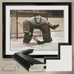 34Wx26H AT THE CREASE by KEN DANBY -NHL GOALIE NET DOUBLE MATTE, GLASS & FRAME