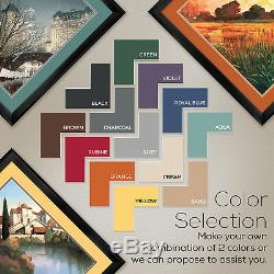 35Wx35H COSTA BRAVA SUNSET by HOWARD BEHRENS DOUBLE MATTE, GLASS and FRAME