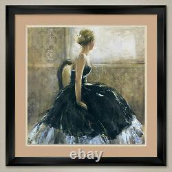 35Wx35H GIRL IN BLACK DRESS by BRIDGES SEAT DOUBLE MATTE, GLASS and FRAME