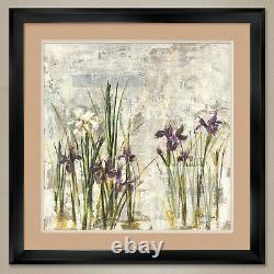 35Wx35H IRIS MIST II by DENNIS CARNEY IRISES DOUBLE MATTE, GLASS and FRAME