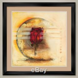 35Wx35H JUEGAS by GEMMA LEYS ROSE FLORAL DOUBLE MATTE, GLASS and FRAME