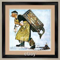 35Wx35H MERMAID (A FAIR CATCH) by NORMAN ROCKWELL DOUBLE MATTE, GLASS & FRAME