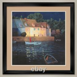 35Wx35H MOONLIGHT ON THE VERDON by MAX HAYSLETTE DOUBLE MATTE, GLASS and FRAME