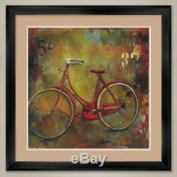 35Wx35H MY OLD RED BIKE BICYCLE by JILL BARTON -DOUBLE MATTE, GLASS and FRAME