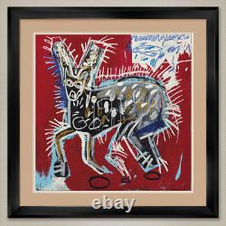 35Wx35H RED RABBIT by JEAN-MICHEL BASQUIAT DOUBLE MATTE, GLASS and FRAME