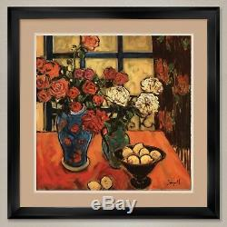 35Wx35H ROSES IN VASE ON TABLE by JAE DOUGALL DOUBLE MATTE, GLASS and FRAME