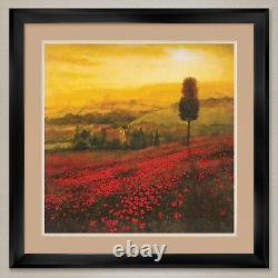 35Wx35H SHADES OF POPPIES by STEVE THOMS DOUBLE MATTE, GLASS and FRAME