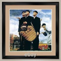 35Wx35H THE THREE UMPIRES by NORMAN ROCKWELL DOUBLE MATTE, GLASS and FRAME