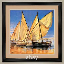 35Wx35H WHITE SAILS II by JAUME LAPORTA DOUBLE MATTE, GLASS and FRAME