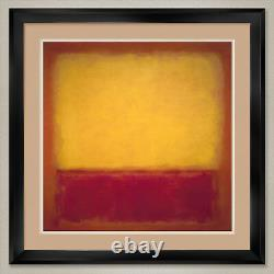 35Wx35H YELLOW OVER PURPLE 1956 by MARK ROTHKO DOUBLE MATTE, GLASS and FRAME