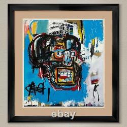 35Wx38H UNTITLED 1982 by JEAN-MICHEL BASQUIAT DOUBLE MATTE, GLASS and FRAME