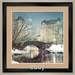 35Wx 35H TWILIGHT IN CENTRAL PARK by ROD CHASE DOUBLE MATTE, GLASS and FRAME