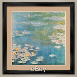35Wx 35H WATERLILIES AT GIVERNY by CLAUDE MONET DOUBLE MATTE, GLASS and FRAME