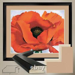 38Wx32H RED POPPY, 1927 by GEORGIA O'KEEFE DOUBLE MATTE, GLASS and FRAME