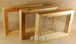 3 NEW Double glass see thru wooden shadow boxes Frame Display Case 8.4x6.5x1.3