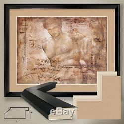 40Wx32H ACHELOUS by RICHARD FRANKLIN NUDE MALE DOUBLE MATTE, GLASS and FRAME