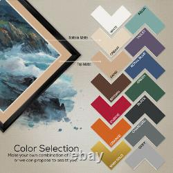 40Wx32H BAIA MEDITERRANEA by ADRIANO GALASSO DOUBLE MATTE, GLASS and FRAME