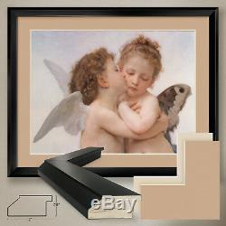 40Wx32H FIRST KISS WILLIAM-ADOLPHE BOUGUEREAU DOUBLE MATTE, GLASS and FRAME