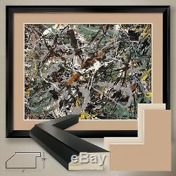 40Wx32H GREEN SILVER, 1949 by JACKSON POLLOCK DOUBLE MATTE, GLASS and FRAME