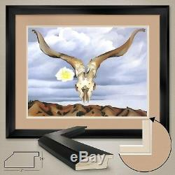 40Wx32H RAMS HEAD HOLLYHOCK by GEORGIA O'KEEFFE DOUBLE MATTE GLASS and FRAME