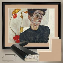40Wx32H SELF PORTRAIT withPHYSALIS by EGON SCHIELE DOUBLE MATTE, GLASS and FRAME