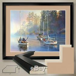 40Wx32H SERENITY by KIFF HOLLAND SAILBOATS DOUBLE MATTE, GLASS and FRAME