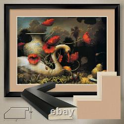 40Wx32H THE SEDUCTION OF CYGNUS by KEVIN SLOAN- DOUBLE MATTE, GLASS and FRAME