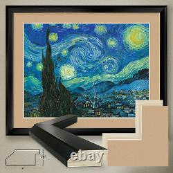40Wx32H THE STARRY NIGHT by VINCENT VAN GOGH DOUBLE MATTE, GLASS and FRAME