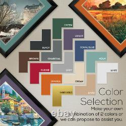 40Wx32H VILLAGE IN THE SUN by MAX HAYSLETTE DOUBLE MATTE, GLASS and FRAME