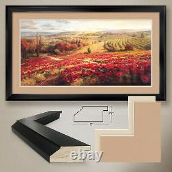 44Wx26H RED POPPY PANORAMA by ROBERTO LOMBARDI DOUBLE MATTE, GLASS and FRAME