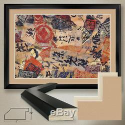 44Wx32H CALLIGRAPHY IN MOTION by MIA MOORE ASIAN DOUBLE MATTE, GLASS and FRAME