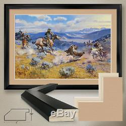 44Wx32H LOOPS & SWIFT HORSES by CHARLES RUSSELL -DOUBLE MATTE, GLASS and FRAME