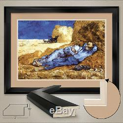 44Wx32H MIDDAY REST (MILLET) by VINCENT VAN GOGH DOUBLE MATTE, GLASS and FRAME